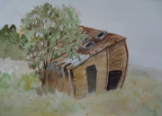 Shed Painting Prints - Leaning Esclante Shed Print by Charme Curtin