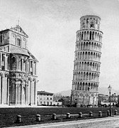 Leaning Framed Prints - Leaning Tower of Pisa Italy - c 1902  Framed Print by International  Images