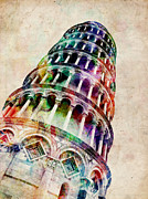 Landmark Digital Art Posters - Leaning Tower of Pisa Poster by Michael Tompsett