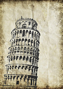Old Paper Art Framed Prints - Leaning Tower of Pisa on old paper Framed Print by Setsiri Silapasuwanchai