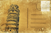 Aging Framed Prints - Leaning Tower of Pisa postcard Framed Print by Setsiri Silapasuwanchai