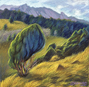 Foothills Pastels - Leaning Tree by Gina Blickenstaff