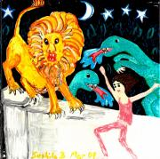 Lions Ceramics Posters - Leap Away from the Lion Poster by Sushila Burgess