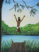 African-american Painting Framed Prints - Leap Of Faith Framed Print by Kris Crollard
