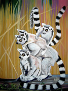 Stacked Paintings - Leapin Lemurs by Phyllis Kaltenbach