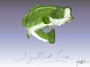 Largemouth Digital Art Prints - Leaping Bass Print by Tyler Martin
