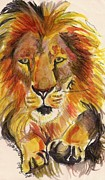 Lion Drawings Framed Prints - Leaping Lion Framed Print by Jamey Balester