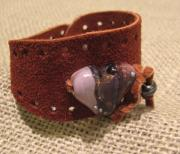 Shirt Jewelry - Leather and Lampwork Cuff by Nicola Meeks