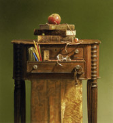 Still Life Pastels Prints - Leather Bound Print by Barbara Groff