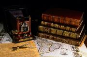 Vintage Map Photos - Leather Bound Books, An Old Camera by Todd Gipstein