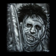 Horror Paintings - Leather face by John Shook