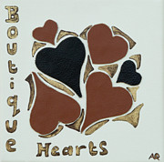 Home Decor Posters Mixed Media Posters - Leather hearts Poster by Alison Quine