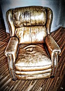 Lounge Chair Posters - Leather Recliner Poster by Ron Bissett