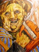 Creepy Mixed Media Originals - Leatherface by Michael Toth