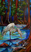 Egret Painting Originals - Leave Only Footprints by Patti Schermerhorn