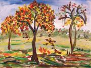 Autumn Trees Drawings Posters - Leaves are Falling Poster by Mary Carol Williams