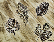 Oak Mixed Media Prints - Leaves Left Print by Marsha Heiken