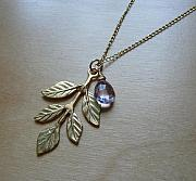 Charm Necklace Jewelry - Leaves of Grace by Karen Ericson