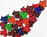 Impact Painting Metal Prints - Leaves Metal Print by Oliver Johnston