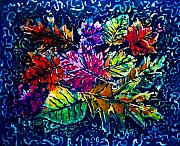 Colorful Tapestries - Textiles Metal Prints - Leaves Metal Print by Sue Duda