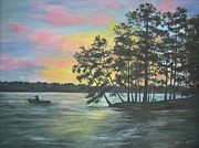 Pine Trees Mixed Media Metal Prints - Leaving Goat Island Metal Print by Jackie  Hill