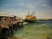 Manly Paintings - Leaving Manly Wharf by Dave Manning