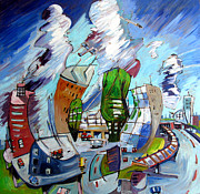 Plane Painting Originals - Leaving OHare on a Jet  Plane by Charlie Spear