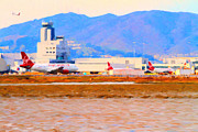 San Francisco Airport Framed Prints - Leaving On A Jet Plane . 7D12335 Framed Print by Wingsdomain Art and Photography