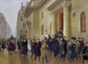 Home Paintings - Leaving the Lycee Condorcet by Jean Beraud