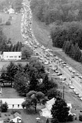 Popular Music Prints - Leaving Woodstock Music Fair. Aerial Print by Everett