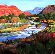 Red Rock Canyon Paintings - Leaving Zion by Erin Hanson