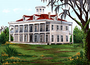 Red Roof Prints - LeBeau Plantation Print by Elaine Hodges