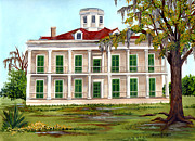 Building Painting Framed Prints - LeBeau Plantation Front View Framed Print by Elaine Hodges