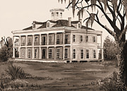 Red Roof Prints - LeBeau Plantation in Sepia Print by Elaine Hodges