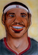 Athletes Drawings Framed Prints - Lebron James Framed Print by Pete Maier