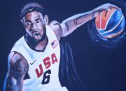 Lebron Painting Metal Prints - Lebron James Portrait Metal Print by Mikayla Henderson