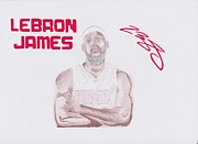 Miami Heat Drawings Prints - LeBron James Print by Toni Jaso
