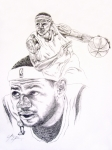 Lakers Drawings - Lebron by Otis  Cobb