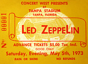 Tampa Framed Prints - Led Zeppelin ticket Framed Print by David Lee Thompson
