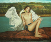 Leda Painting Posters - Leda and the Swan - Passionate Poster by Giovanni Rapiti