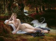 Laid Metal Prints - Leda and the Swan Metal Print by Francois Edouard Picot