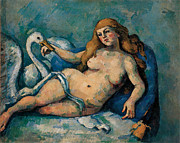 Leda Painting Posters - Leda and the Swan Poster by Paul Cezanne
