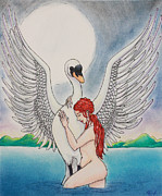 Leda And The Swan Framed Prints - Leda Framed Print by J Dreag Karski
