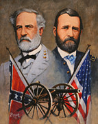 Robert E Lee Paintings - Lee and Grant by Ed Yanok