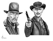 Old West Drawings Prints - Lee Marvin-Lee Van Cleef Print by Murphy Elliott