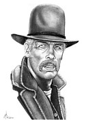 Western Pencil Drawing Posters - Lee Marvin Poster by Murphy Elliott