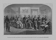 Union Commanders Framed Prints - Lee Surrendering To Grant At Appomattox Framed Print by War Is Hell Store