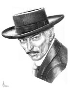 Cowboy Pencil Drawing Prints - Lee Van Cleef Print by Murphy Elliott