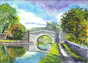 Water Reflections Drawings - Leeds Canal Liverpool by Carol Wisniewski
