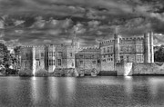 Moated Castle Prints - Leeds Castle in Black and White Print by Chris Thaxter
